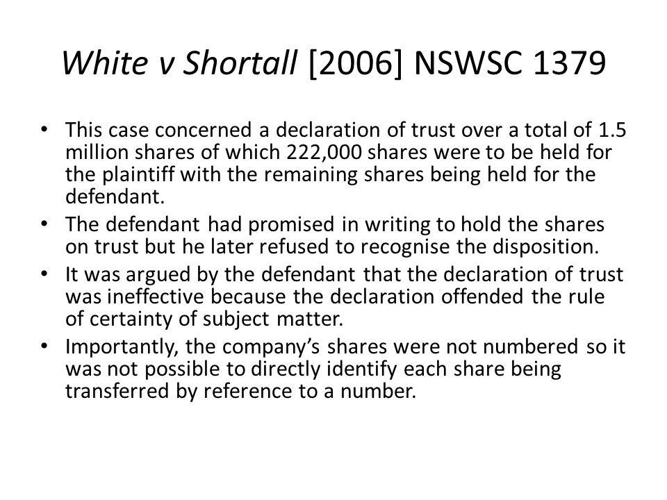 White v Shortall [2006] NSWSC 1379